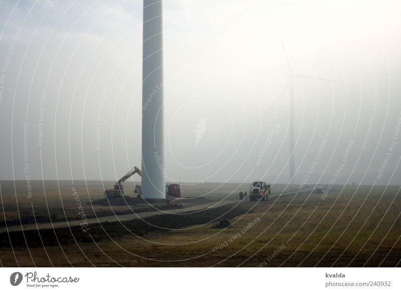 Windkraft Baustelle Wirtschaft Industrie Energiewirtschaft Erneuerbare Energie Windkraftanlage Umwelt Natur Herbst schlechtes Wetter Nebel Wege & Pfade bauen