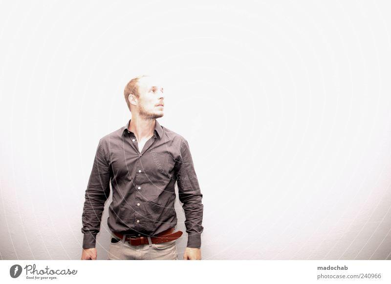In Ewigkeit Mensch Mann Erwachsene Stil Perspektive Bekleidung Hemd Bart seriös kurzhaarig 30-45 Jahre dunkelgrau Vor hellem Hintergrund