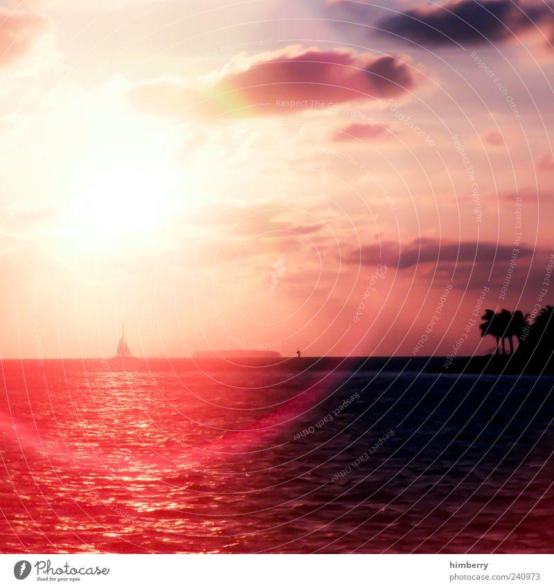 true romance Himmel Natur Ferien & Urlaub & Reisen rot Sonne Sommer Meer Wolken Ferne Umwelt Landschaft Gefühle Küste Freiheit Stimmung Wetter