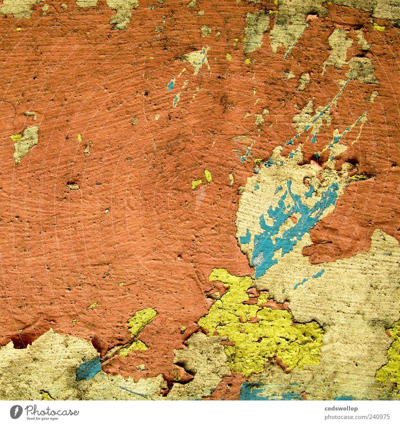 le mur orange Mauer Wand Fassade kaputt Verfall bemalt Farbfoto Außenaufnahme abstrakt Muster Strukturen & Formen Menschenleer Totale Nahaufnahme gelb blau rot