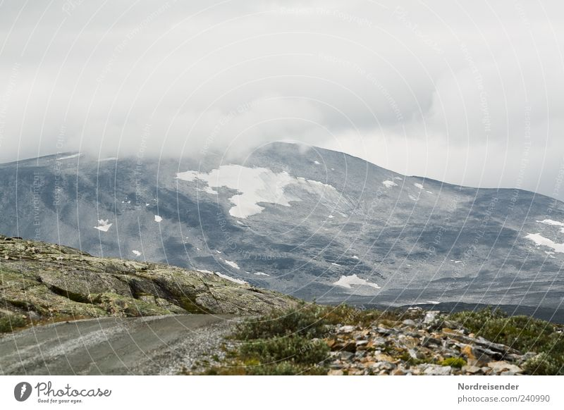 Wichtigkeiten sortieren Berge u. Gebirge Natur Landschaft Urelemente Wolken Wetter schlechtes Wetter Nebel Felsen Gipfel Straße Wege & Pfade Pass Norwegen Fjäll