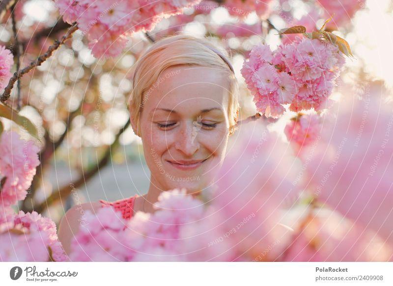 #A# Frühlingslächeln Umwelt Natur Landschaft Pflanze Schönes Wetter ästhetisch Zufriedenheit Frau Frauengesicht rosa Blühend Blühende Landschaften entdecken