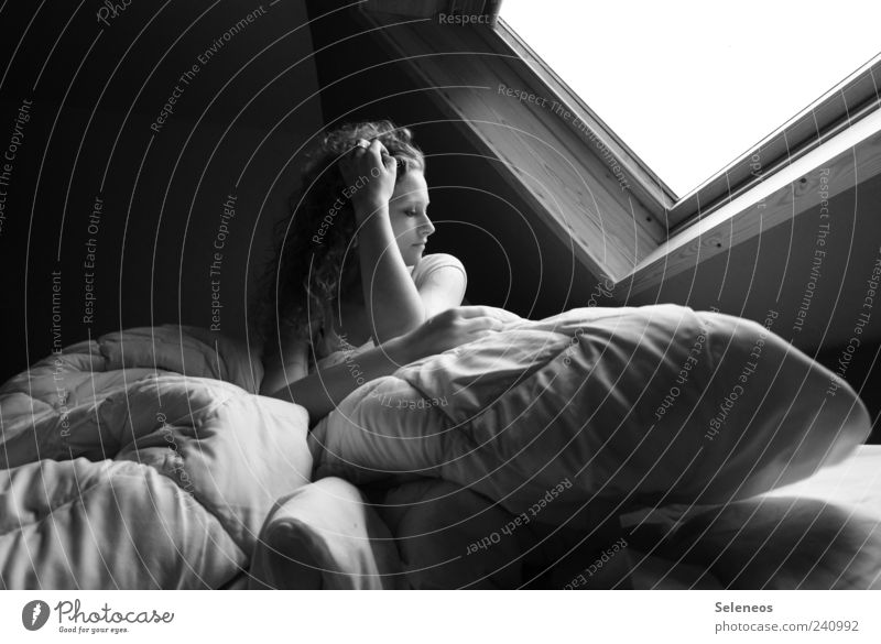 aufstehen Mensch Frau Erwachsene Fenster Haare & Frisuren Kopf träumen Raum Wohnung Arme sitzen Häusliches Leben Bett Locken langhaarig Decke
