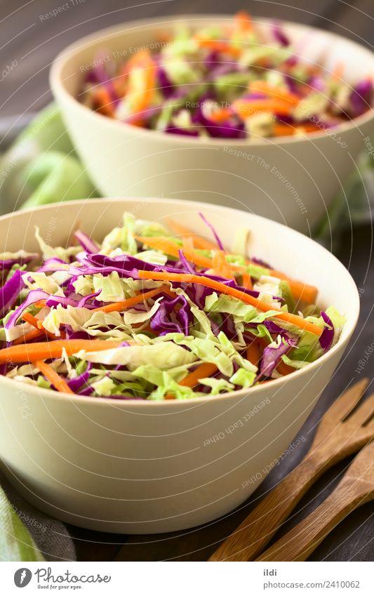 Speise Gesundheit frisch Gemüse Mahlzeit Vegetarische Ernährung Salat Salatbeilage vertikal geschnitten Möhre roh Snack gebastelt Krautsalat
