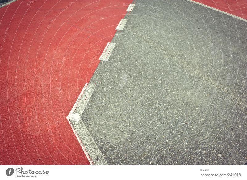 Trennung Platz Verkehr Verkehrswege Straße Wege & Pfade Schilder & Markierungen grau rot weiß Strichellinie Asphalt Knick Ecke graphisch Grafische Darstellung