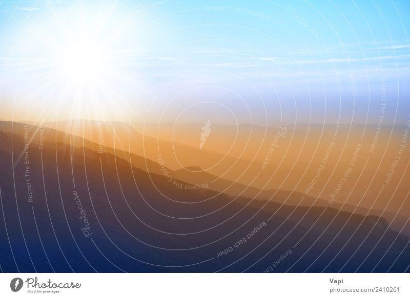Schöner Sonnenuntergang in den Bergen schön Ferien & Urlaub & Reisen Tourismus Abenteuer Ferne Sommer Berge u. Gebirge Umwelt Natur Landschaft Luft Himmel
