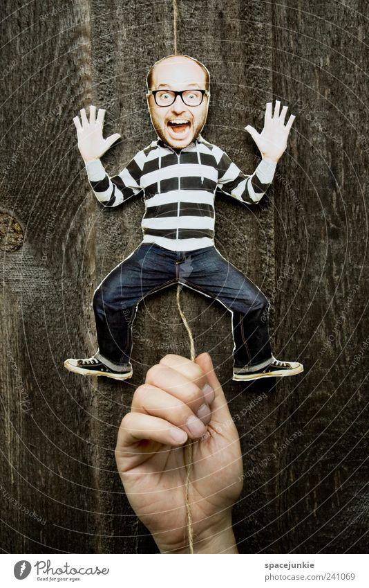 Hampelmann Mensch Mann Jugendliche Hand Erwachsene Bewegung lustig Junger Mann maskulin verrückt Gesichtsausdruck Spielzeug schreien skurril Comic Humor