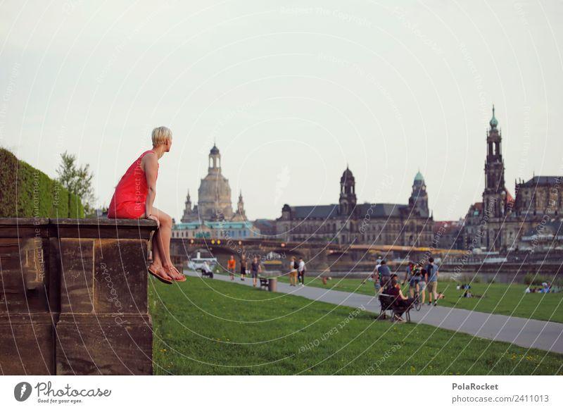 #A# Blick nach Dresden Kunst Kunstwerk Gemälde ästhetisch Sachsen Elbufer Frauenkirche Hofkirche Dresden Barock Barockstadt Romantik Städtereise