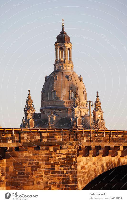 #A# Goldene Dame Kunst Kunstwerk ästhetisch Dresden Frauenkirche Elbufer Kuppeldach Sehenswürdigkeit Wahrzeichen Barock Altstadt Tourismus Farbfoto