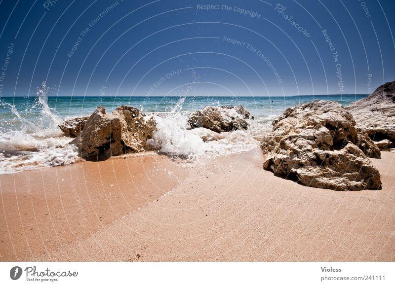 Splash Himmel Natur blau Wasser Ferien & Urlaub & Reisen Meer Strand Freude Erholung Ferne Landschaft Sand Horizont Schwimmen & Baden Wellen frisch