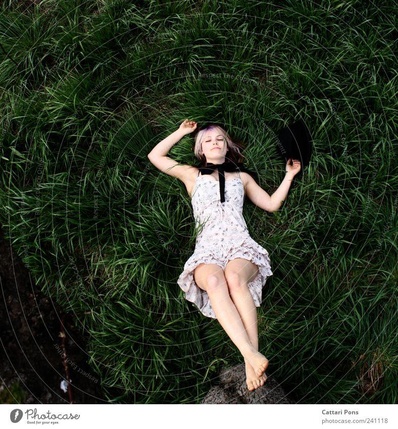 sleeping rabbit feminin Junge Frau Jugendliche Erwachsene 1 Mensch Umwelt Natur Pflanze Baum Gras Wiese Kleid Schleife Barfuß Hut Erholung genießen liegen
