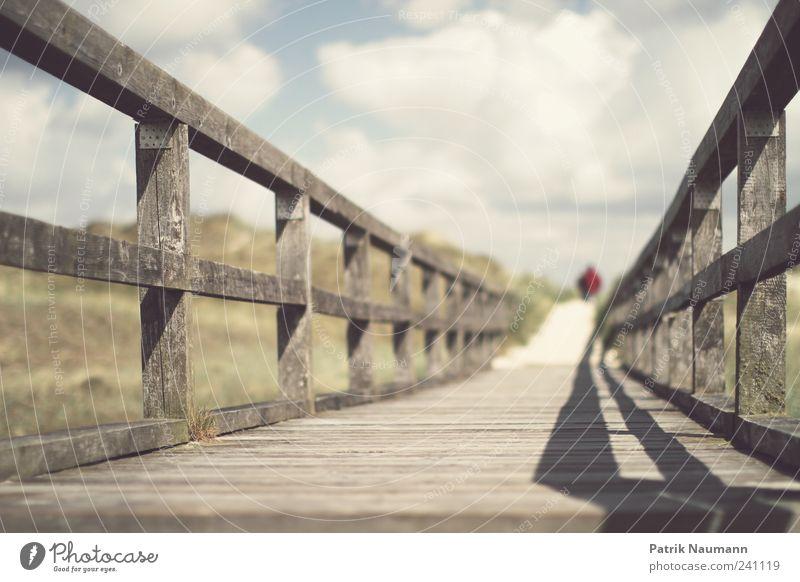 dieser Weg Ferne Freiheit Sommer Strand Meer Paar Partner 2 Mensch Umwelt Natur Wolken Küste Nordsee träumen wandern Beginn Freizeit & Hobby Steg Holz