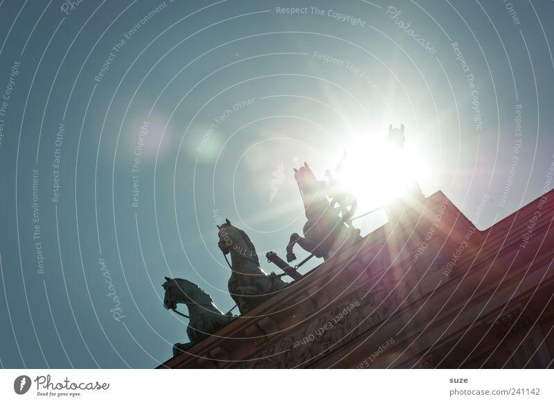 Sunset Himmel blau Sonne Wolken Berlin Kunst Deutschland Europa ästhetisch Kultur Symbole & Metaphern Pferd historisch Bauwerk Denkmal Statue