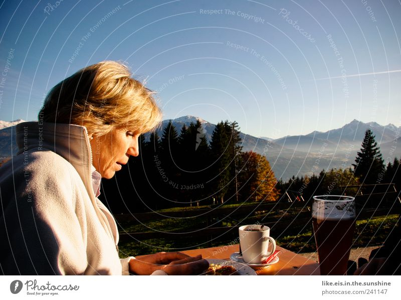 Kaffeekränzchen mit Aussicht Mensch Frau Ferien & Urlaub & Reisen Baum Sommer Erwachsene Erholung Ferne Landschaft feminin Herbst Kopf Essen Zufriedenheit blond