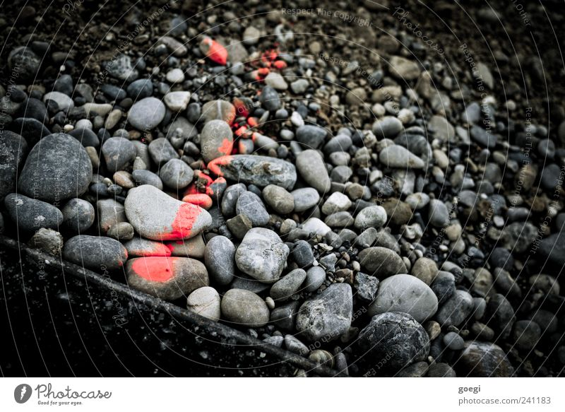 RAL 3024 II Stein Zeichen Schilder & Markierungen Linie Pfeil grau rot schwarz Kieselsteine Asphalt Am Rand kennzeichnen Messung Farbfoto Außenaufnahme