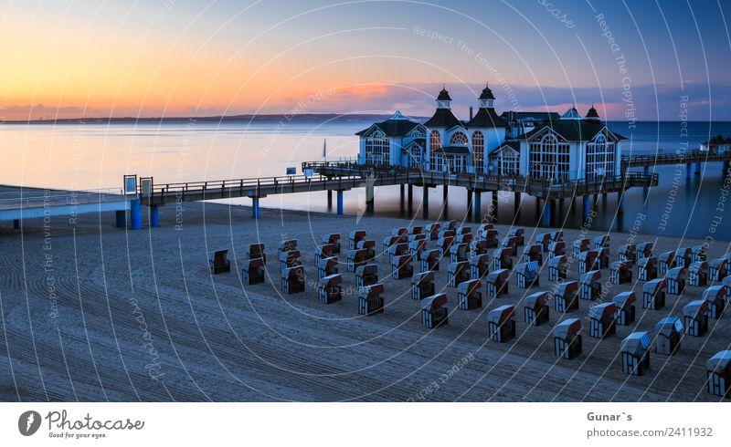 Panoramabild zur Blauen Stunde Seebrücke Sellin, Ostsee, Rügen harmonisch Erholung Ferien & Urlaub & Reisen Tourismus Ausflug Abenteuer Ferne Freiheit