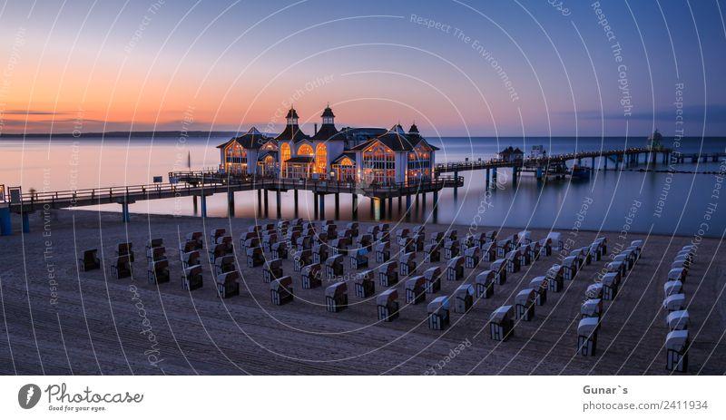 Panoramabild zur Blauen Stunde Seebrücke Sellin, Ostsee, Rügen harmonisch Erholung Ferien & Urlaub & Reisen Tourismus Ausflug Ferne Camping Sommerurlaub Meer