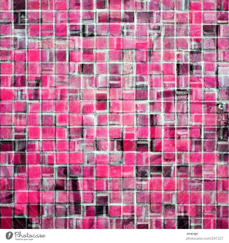 Musterung Stil Design Mauer Wand Stein Linie Fliesen u. Kacheln leuchten Coolness eckig viele verrückt rosa chaotisch Farbe Mosaik Farbfoto Nahaufnahme