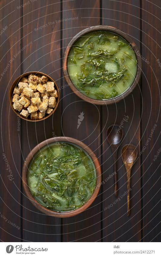Mangold-Suppe und Croutons Gemüse Eintopf Vegetarische Ernährung frisch Beta vulgaris pflanzlich Stengel Lebensmittel Begleitung Gesundheit mediterran