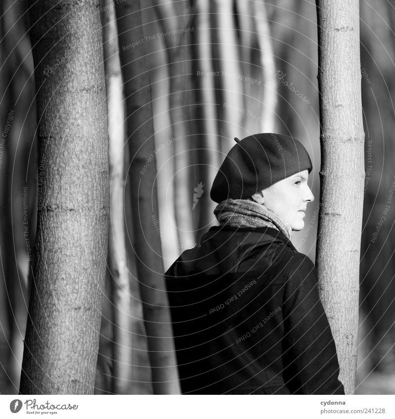 Dazwischen elegant Wohlgefühl Erholung ruhig Ausflug Ferne Freiheit Mensch Junge Frau Jugendliche 18-30 Jahre Erwachsene Umwelt Natur Baum Wald Mantel Mütze