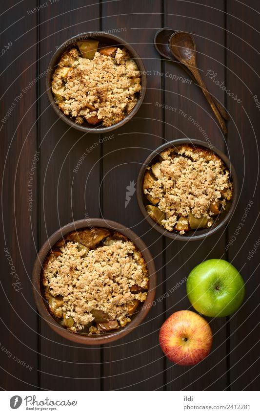 Gebackener Apfel Streusel Frucht Dessert frisch bröckeln knusprig Schuster süß Lebensmittel Speise Mahlzeit Snack Kruste gebastelt Hafer Haferflocken gerollt