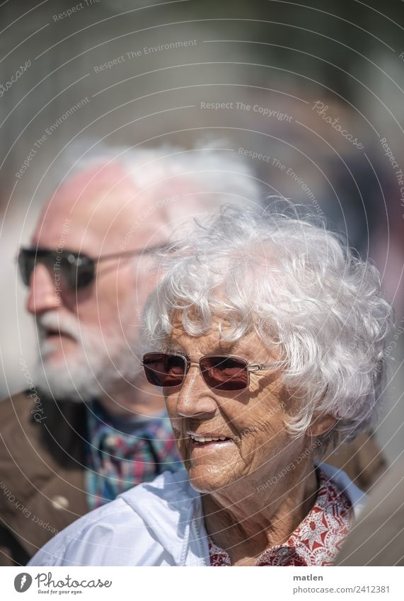Grau Mensch Frau Erwachsene Mann Weiblicher Senior Männlicher Senior Paar Haare & Frisuren Gesicht 2 60 und älter Lächeln braun grau orange weiß Doppelportrait