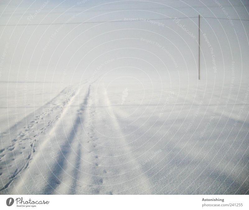 hinein in den Nebel Natur Himmel weiß blau Winter kalt Wege & Pfade Umwelt stehen Spuren Strommast Hochspannungsleitung ungewiss schlechtes Wetter
