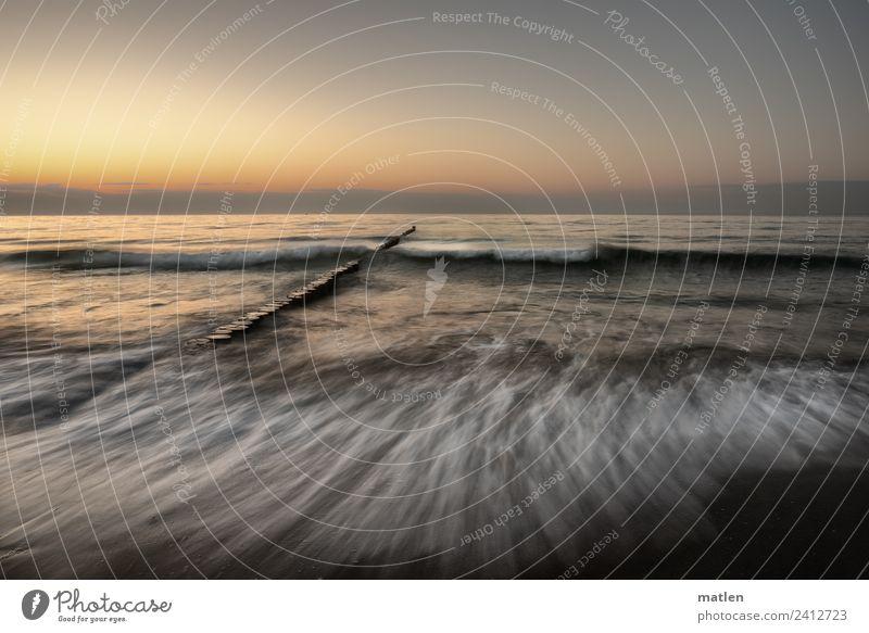 baltic summer Himmel Sommer blau Wasser Landschaft weiß ruhig Strand dunkel gelb Küste grau orange braun Horizont Wellen
