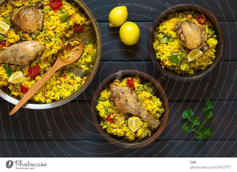 Speise frisch Gemüse Fleisch Mahlzeit Zitrone rustikal Reis Erbsen Oberschenkel Hähnchen Valencia Puls