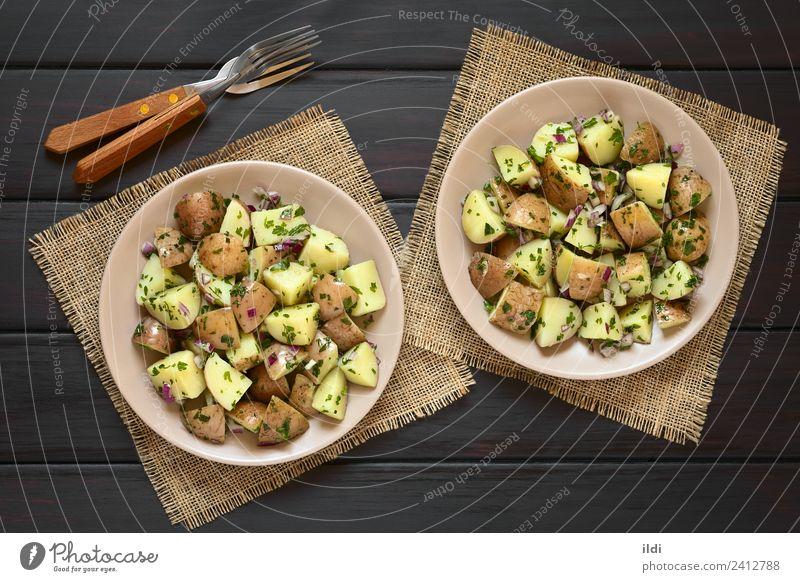 Speise frisch Kräuter & Gewürze Gemüse Mahlzeit Vegetarische Ernährung Seite Salatbeilage horizontal geschnitten Vegane Ernährung Snack Kartoffeln Zwiebel