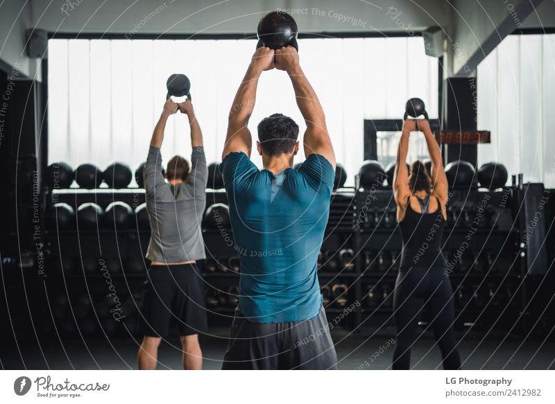 Workout-Kurs im Fitnessstudio Lifestyle Club Disco Sport Mensch Erwachsene Menschengruppe Bekleidung authentisch stark grau Kraft Tatkraft üben Gesundheit