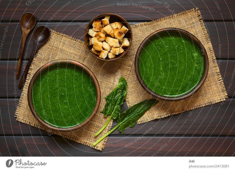 Spinatcremesuppe Gemüse Suppe Eintopf Vegetarische Ernährung frisch Gesundheit Lebensmittel Sahne Amuse-Gueule Speise Mahlzeit gemischt Essen zubereiten Crouton