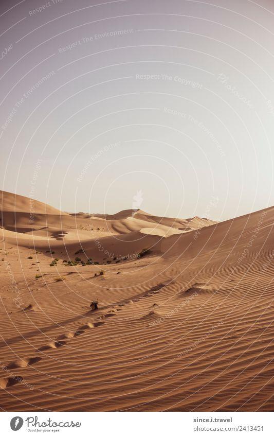 Wüste mit Fußspuren Abu Dhabi Vereinigte Arabische Emirate Ferien & Urlaub & Reisen Tourismus Abenteuer Ferne Sightseeing Sommer Natur Landschaft Urelemente