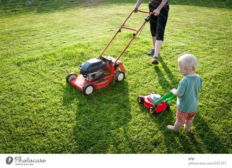 lörning bei gucking Mensch Kind grün rot Sommer Wiese Spielen Gras klein Garten Beine Arbeit & Erwerbstätigkeit Zusammensein Kindheit Arme groß