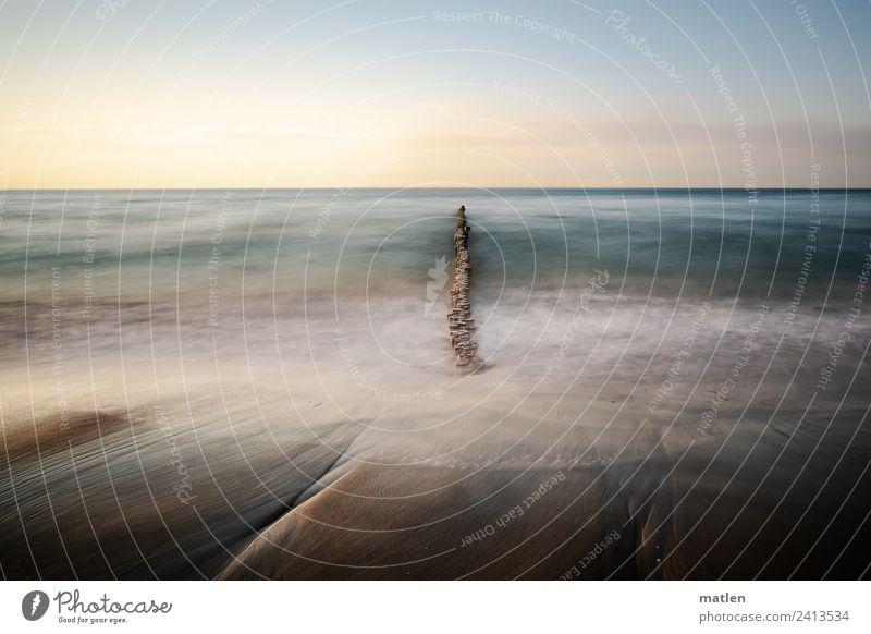 undertow Landschaft Sand Wasser Himmel Wolkenloser Himmel Horizont Sonnenaufgang Sonnenuntergang Frühling Schönes Wetter Wellen Küste Strand Ostsee Bewegung