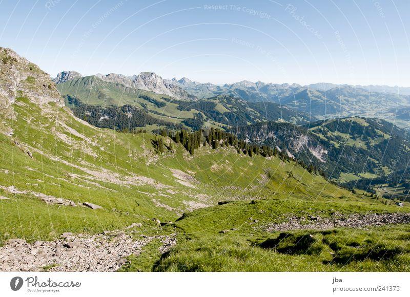 Blick zurück Himmel Natur Sommer Erholung Landschaft Berge u. Gebirge Gras Glück Stein Luft Felsen Freizeit & Hobby hoch frei Ausflug Urelemente