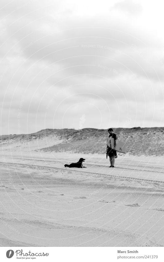 Zweisamkeit Hund Mensch Mann Strand Erwachsene Sand Freundschaft Freizeit & Hobby Tourismus Coolness loyal Wolkenhimmel