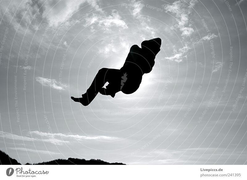 da jump Freude Freizeit & Hobby Sonne Mensch maskulin Mann Erwachsene 1 fallen fliegen springen kaputt Geschwindigkeit sportlich schwarz Glück Gelassenheit