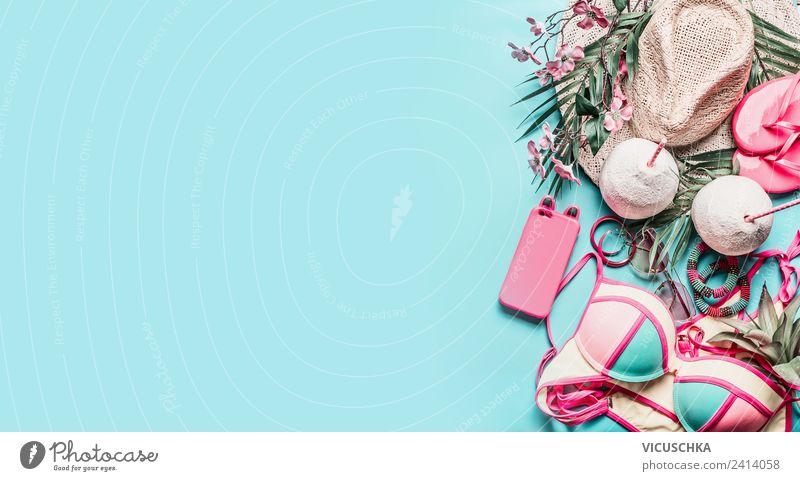 Sommer Strand Accessoires und Kokos Cocktail Ferien & Urlaub & Reisen blau Freude Hintergrundbild Stil rosa Design Bekleidung Getränk Fahne Hut türkis PDA