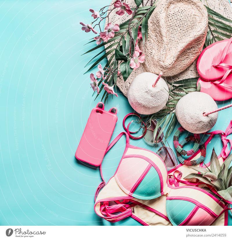 Sommer. Strandurlaub accessoires Ferien & Urlaub & Reisen Blume Freude gelb Stil Mode Party Design Getränk trendy Hut Schmuck Bikini PDA