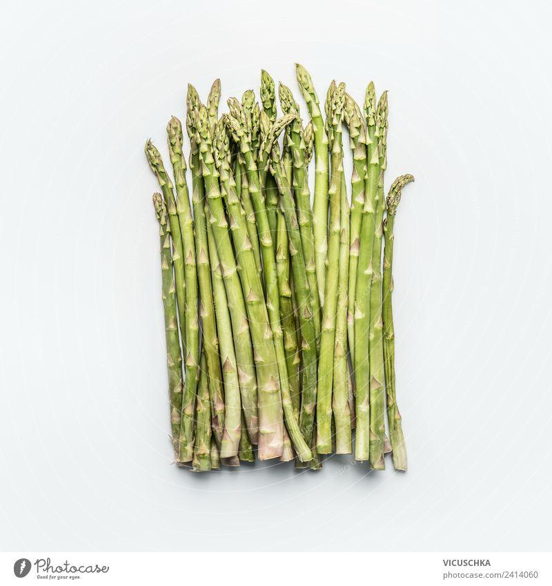 Grüne Spargel Bund auf weiß Lebensmittel Gemüse Ernährung Bioprodukte Vegetarische Ernährung Diät Stil Design Gesundheit Gesunde Ernährung Natur Hintergrundbild