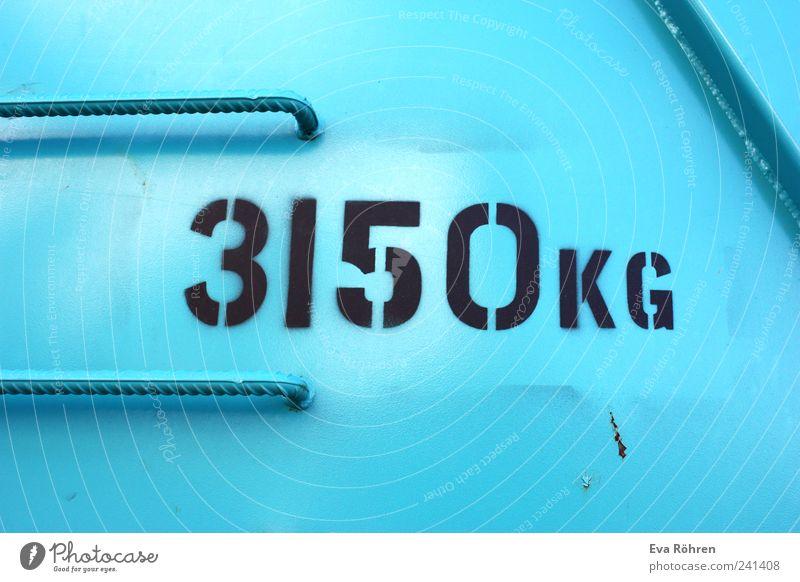 3150 kg Container blau schwarz Farbe kalt Kraft Güterverkehr & Logistik Schriftzeichen nah Baustelle Ziffern & Zahlen fest Stahl Stress Typographie bauen Griff