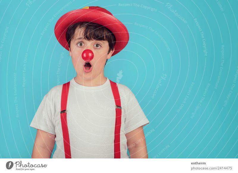 lustiges Kind mit Clownsnase Lifestyle Freude Feste & Feiern Karneval Halloween Jahrmarkt Geburtstag Mensch maskulin Kleinkind Junge Kindheit 1 8-13 Jahre