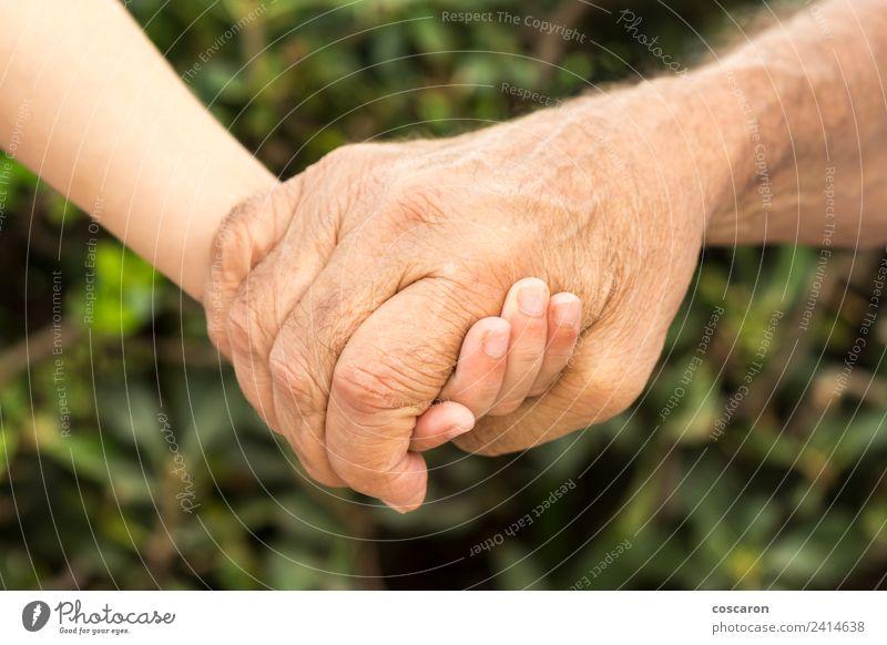 Die Hände eines Großvaters und seines Enkelsohnes Lifestyle Kind Junge Eltern Erwachsene Familie & Verwandtschaft Kindheit Hand alt Liebe Zusammensein klein