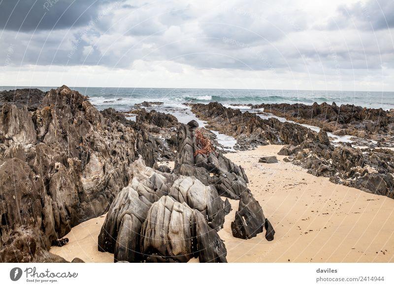 Cape Conran Beach, Australien Freiheit Strand Meer Natur Sand Himmel Wolkenloser Himmel Gewitterwolken schlechtes Wetter Felsen Wellen Küste Pazifik