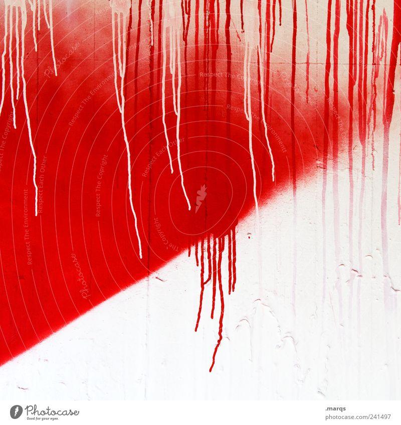 Verlauf Design Anstreicher Mauer Wand Fassade Beton Tropfen außergewöhnlich Flüssigkeit einzigartig rot weiß Farbe skurril spritzen Farbstoff Vergänglichkeit