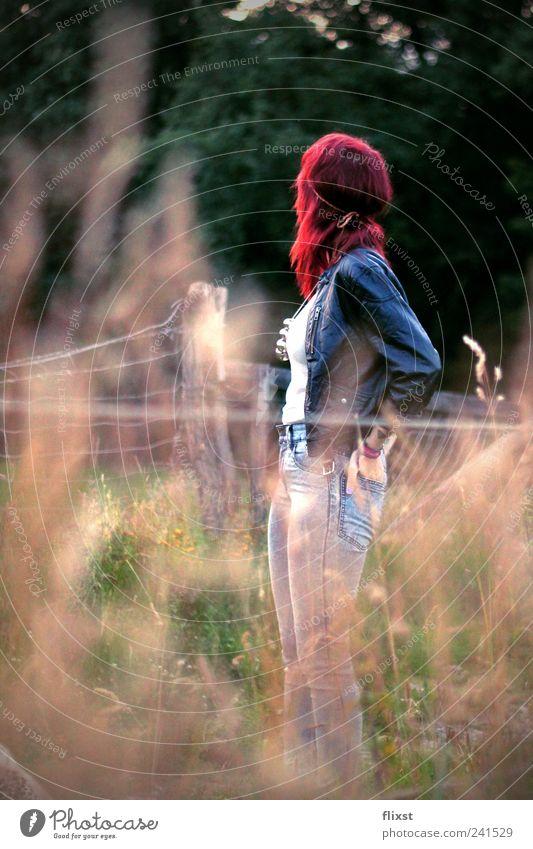 Rot im Walde Mensch Jugendliche Sommer feminin Zufriedenheit elegant Hoffnung nachdenklich Schönes Wetter Junge Frau standhaft Frau
