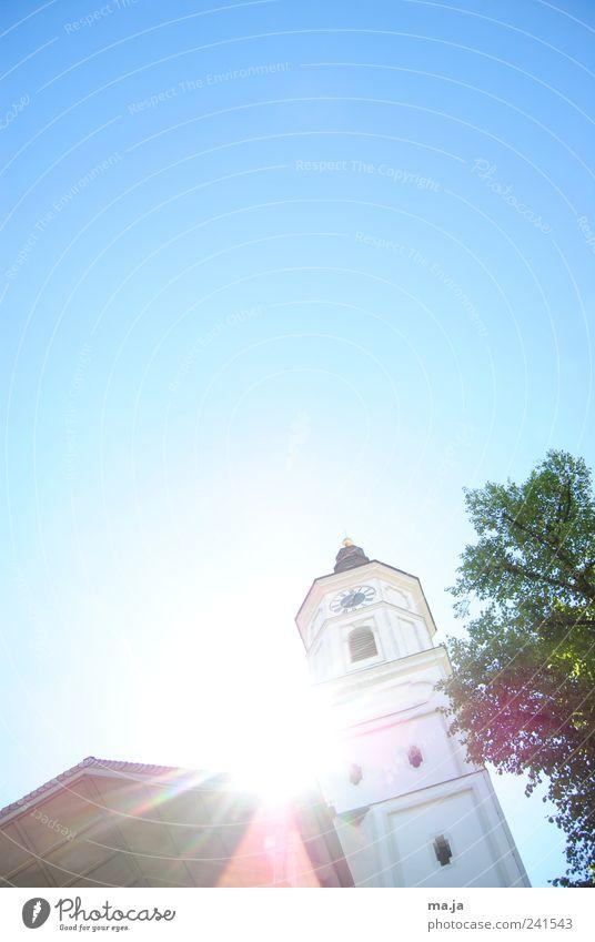 historisch Himmel blau grün Baum Pflanze Holz Architektur Stein Deutschland gold Gold Kirche Europa Turm München