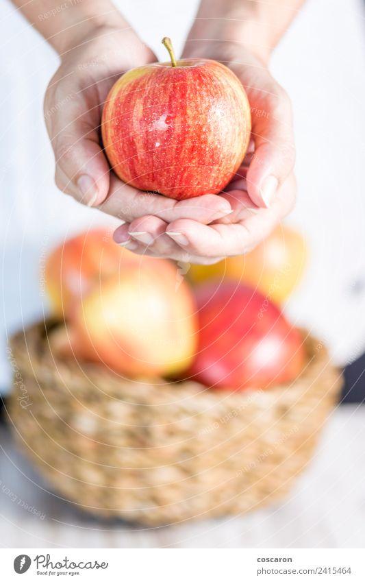 Frau Natur Sommer schön grün weiß Hand rot Erwachsene Lifestyle natürlich Glück Frucht hell frisch Apfel
