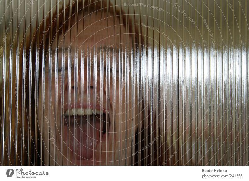 Die Blendung Frau Erwachsene Kopf Mund 1 Mensch Glas schreien bedrohlich rebellisch wild braun Gefühle Angst Todesangst Wut Aggression Stress Surrealismus